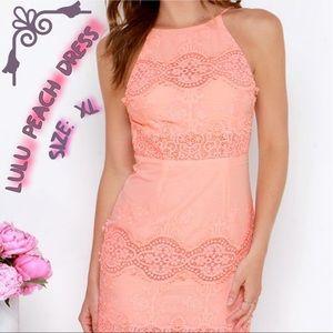 LuLu's peach worth it backless dress